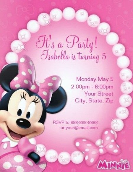 Sample Of Minnie Mouse Party Invitations