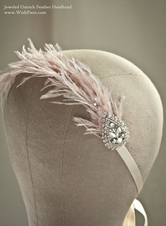 Vintage Boho Feather Hair Accessories, Bohemian Wedding Headband, Dusty Rose Feather Headband, Vintage Brooch Style.
