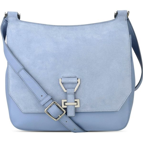Nine West Roxanne Leather Crossbody ($100) ❤ liked on Polyvore featuring bags, handbags, shoulder bags, blue leather shoulder bag, leather purses, nine west crossbody, nine west handbags and leather cross body purse