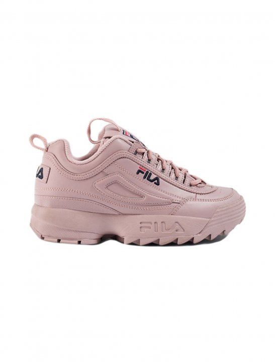 8c6a6e5a108 Check out pink disruptor sneakers from FILA. The pink narrow fit sneakers  feature a big