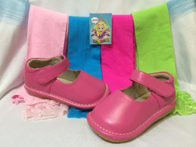 These are a pair of pink squeaky shoes. These adorable squeaky shoes make a squeaky noise when walking. Not only is the shoe functional and fun for children, but parents love the safety feature of kno