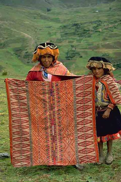 """Acha Alta, Peru where Inca weavers create complex patterns that celebrate the land: lakes of sacred water, a variety of plants and planted areas. Photo by David VanBuskirk. Peruvian weavings are an inspiration for the recently released book """"Beyond the Stones of Machu Picchu: Folk Tales and Stories of Inca Life"""" by Elizabeth VanBuskirk. For more about Inca weaving also see incas.org"""