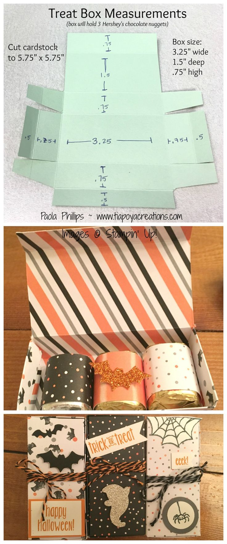 halloween treat box instructions handmade by paola phillips - Pinterest Halloween Treat Bags