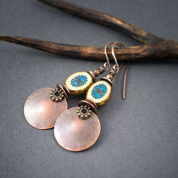 copper disc earrings • Czech flower glass beads • boho earrings • tribal jewelry • hand forged • circle earrings • earthy jewelry • ethnic