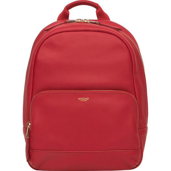 KNOMO Mayfair Luxe Mini Mount RFID Backpack - Chili - School Backpacks (750 PEN) ❤ liked on Polyvore featuring bags, backpacks, red, knomo backpack, knapsack bag, daypack bag, mini bag and full grain leather bag