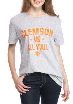 Pressbox Women's Clemson Vs All Y'all Tee Shirt - Grey - Xl