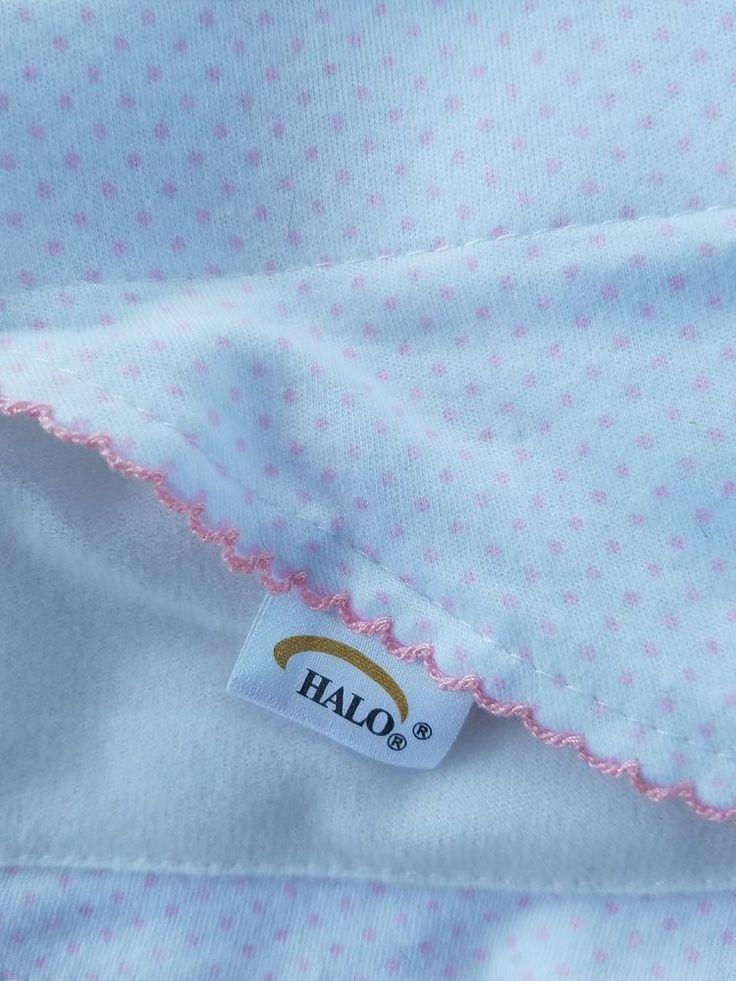 Halo 100% Cotton Sleep Sack Swaddle Baby Girl Newborn White Pink Polk A Dots  #Halo