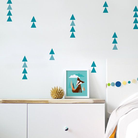 Wall Decal Triangle Baby Nursery Wall Decal Kids Wall Decal Teal Nursery Wall Decal Modern Nursery Decal. Little Peaks Children Wall Decal