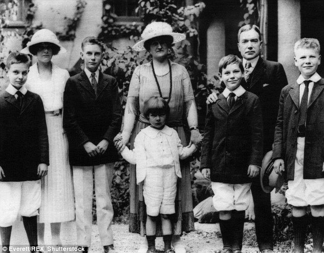 From left: Laurance Rockefeller, Abby Rockefeller, John D. Rockefeller III, Abby Aldrich Rockefeller, David Rockefeller, Winthrop Rockefeller, Industrialist John D. Rockefeller Jnr., and  Nelson Rockfeller, in Seal Harbor, Maine in 1920 at their family property