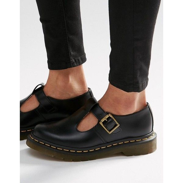 Dr Martens Core Polley T-Bar Flat Shoes ($103) ❤ liked on Polyvore featuring shoes, flats, black, t bar flat shoes, black t strap shoes, round toe flats, t strap shoes and flat shoes