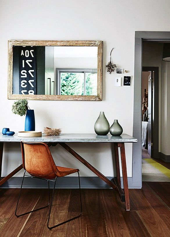 Desk workspace with reclaimed wood mirror.