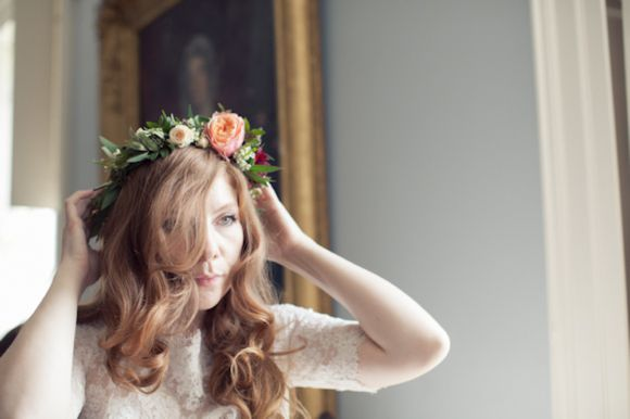 A Peach Rose and Black Dahlia Floral Crown For a Scottish Castle Wedding...  Photo Credit: http://www.candysnaps.co.uk