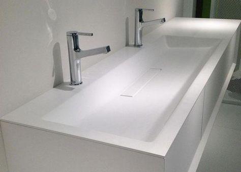 Vasque double encastrer rectangulaire en verre h1 - Double evier salle de bain ...