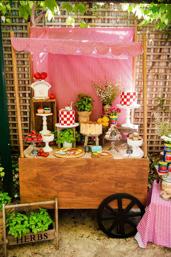 La Dolce Vita Italy Inspired Twins Birthday Party  Vintage Sew and So's market cart, Hire www.vintagesewandso.com.au