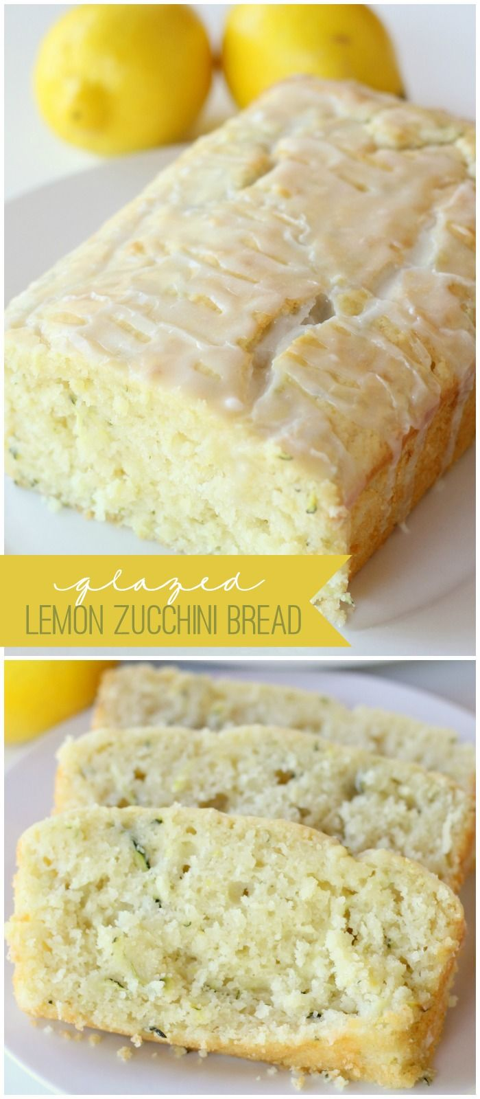 Delicious Glazed Lemon Zucchini Bread recipe { lilluna.com }Zucchini Recipe, Lemon Glaze Zucchini Bread, Lemon Cake, Breads Recipe, Lemon Zucchini Breads, Sugar Free Zucchini Bread, Lemon Recipe, Glaze Lemon, Lemon Bread