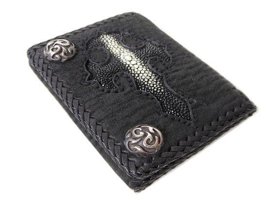 Men Trifold Shark Skin Biker Wallet With Stingray Cross & Silver Button,Biker Wallet,Leather Wallet,Men Wallet,Black Wallet,Trifold Wallet