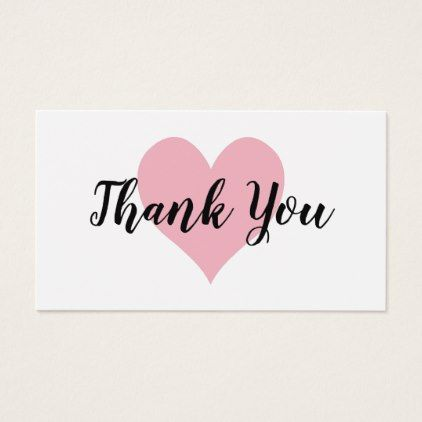 Business thank you card template the 25 best business thank you pale pink heart thank you business card script gifts template templates diy customize personalize special accmission Images