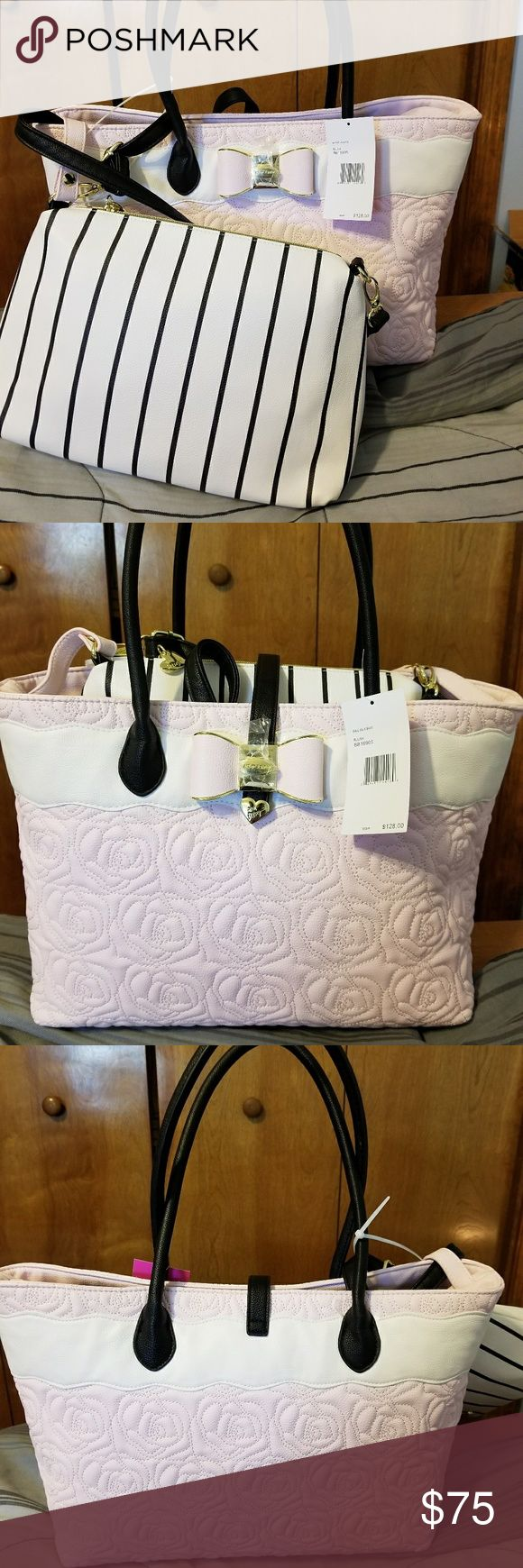 "BNWT Betsey Johnson bag in a bag Blush rose tote with single zipper compartment and two side interior pockets.  Strap closure.   10 1/2"" H 17"" L 7"" W 9"" handle   White w/black stripes shoulder bag with single zipper compartment and two side interior pockets.   9"" H 11 1/2"" L 3 1/2"" W 20 1/2"" strap * Strap on this bag is adjustable and removable.   🌟🌟🌟🌟🌟 5 star seller  📫 fast shipping  Bundle and save!!  🚫 Sorry,  no trades Betsey Johnson Bags Totes"