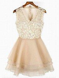Lace Moda Flores bordado vestido de gaze – BRL R$ 109,04