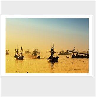 Balıkçı Tekneleri Endonezya Kendin Tasarla - Kanvas Tablo 90x60cm Yatay