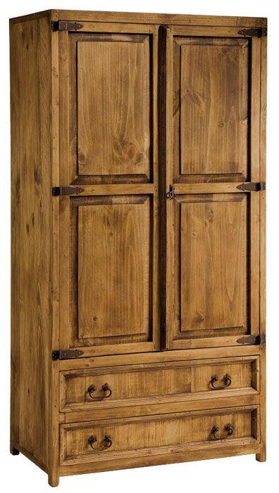 Armario rustico 2 cajones 2 puertas con tiradores en hierro forjado, mira mas sobre este artículo en: http://www.rusticocolonial.es/mueble-rustico-y-mueble-mejicano-de-gran-calidad-al-mejor-precio/muebles-de-dormitorio-rusticos-y-mejicanos-de-gran-calidad-al-mejor-precio/armarios-rusticos-y-mejicanos-de-gran-calidad-al-mejor-precio-1