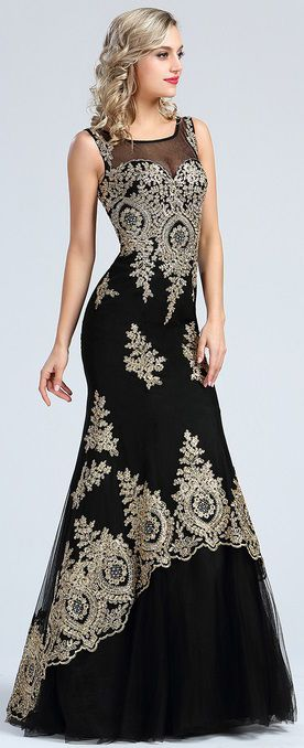 eDressit Stunning Gold Lace Appliques Prom Gown
