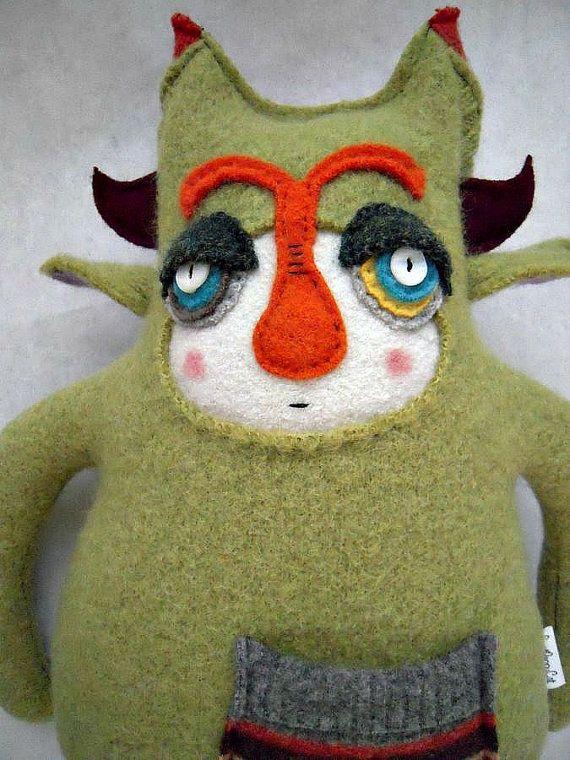 Monster Stuffed Animal Green Wool Sweater by sweetpoppycat on Etsy