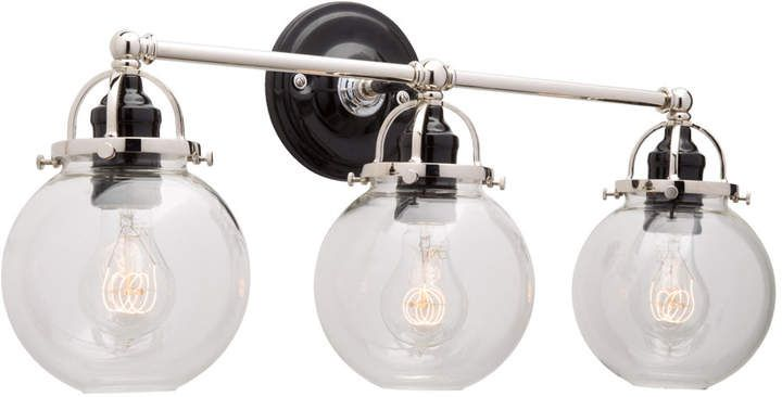Bistro Globe Bath Sconce 4 Light: Mist Triple Sconce