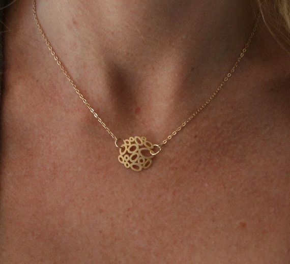 14kt gold pendant necklace simple gold by uniquelyyoubydesign
