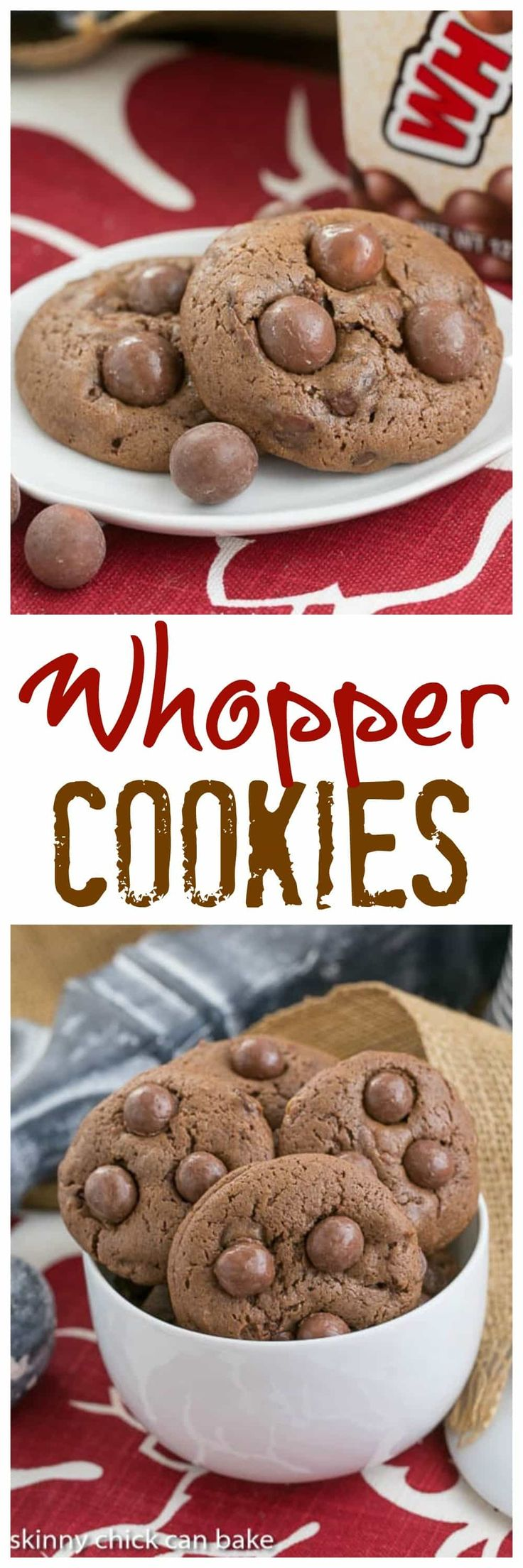 Whopper Cookies | Chocolate malt cookies studded with malted milk balls @lizzydo