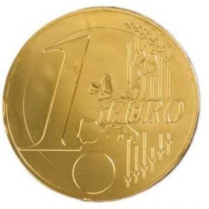 Moneda de chocolate con leche