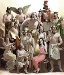 The Twelve Greek Olympians & their (R) Roman names:   Zeus- (R) Jupiter/Jove; Hera - (R) Juno; Poseidon- (R) Neptune; Athena- (R) Minerva; Ares- (R) Mars; Apollo- (R) Apollo; Artemis- (R) Diana; Hermes- (R) Mercury; Aphrodite - (R) Venus; Demeter - Ceres; Hestia- (R) Vesta ... who, when she resigned,   turned her place over to Dionysus - (R) Bacchus;  Hades- (R) Pluto .... depends which version you hear because sometimes it was Hephaestus - (R) Vulcan