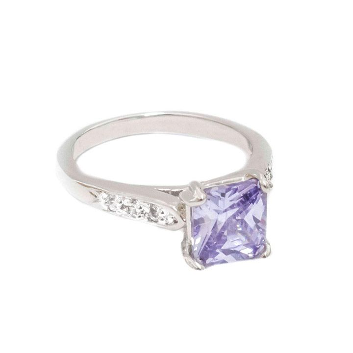Lavender gemstone ring with AAA cubic zirconias. Moresojewel.com