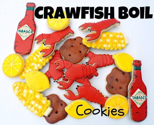 Crawfish Boil Cookies - crawfish, corn on the cob, lemons, tabasco sauce, potatoes