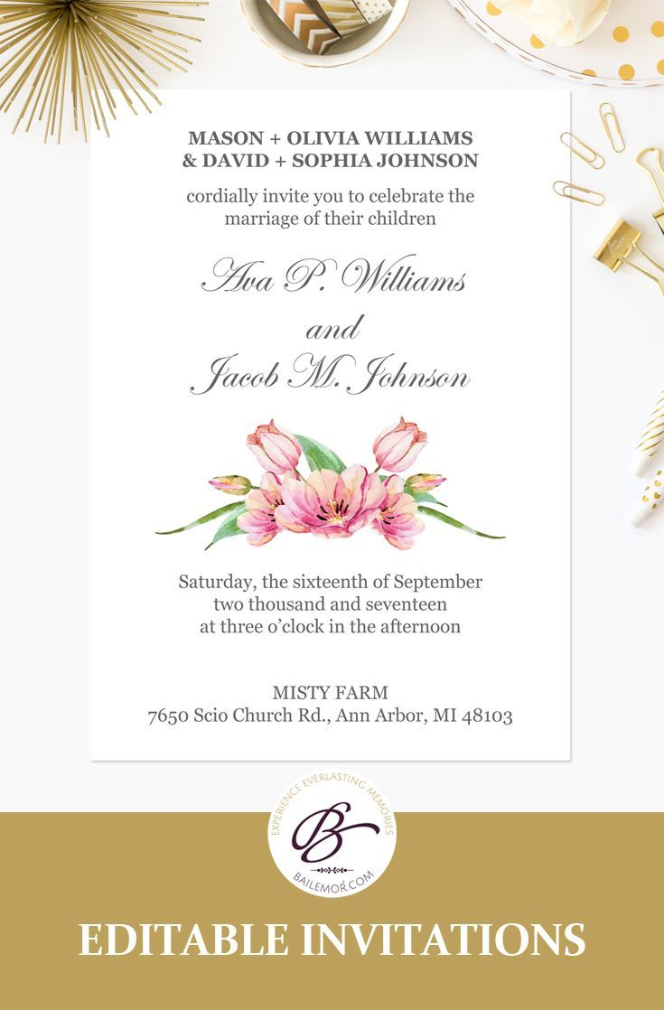 Pink Floral Wedding Invitation Template Printable Wedding Etsy Wedding Invitation Templates Floral Wedding Invitations Printable Wedding Invitations