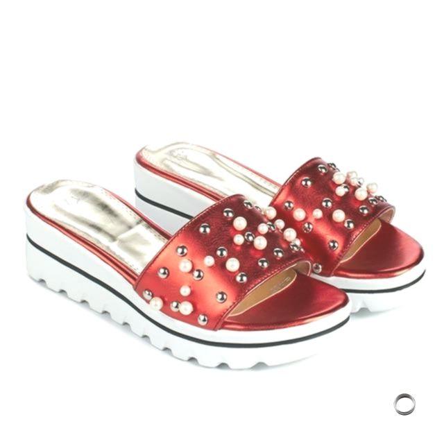 Women Sandals Summer Platform Sandals Platform Wedge Slippers Open Toe Rivet Lad…