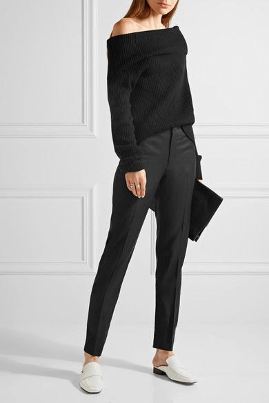 Black wool-twill Concealed button, hook and zip fastening at front 100% wool; pocket lining: 100% polyester Dry clean