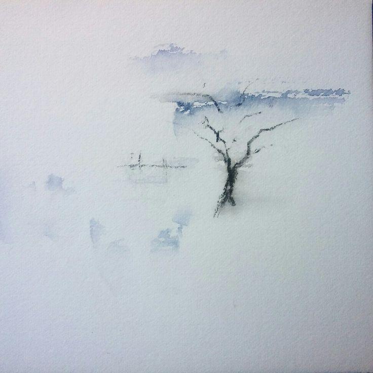 Winter feelings #watercolor #ink #painting #winter #scenery #simple #simplicity #finnishnature #art by Hannele Rajala http://www.hannelerajala.fi