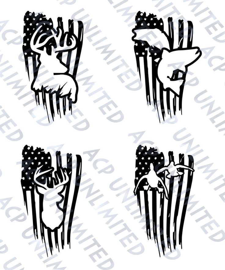 Distressed Flag Decal Sticker merica Outdoorsmen Hunting Fishing Deer Ducks Jeep #Unbranded