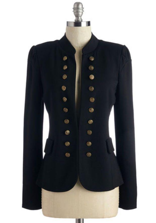 ModCloth Military Mid-length Long Sleeve I Glam Hardly Believe It Blazer in Black