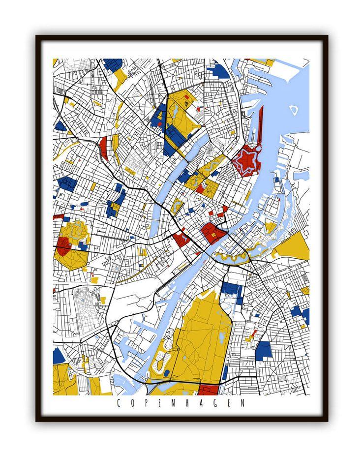 Copenhagen Map Art / Copenhagen Denmark Wall Art by MondrianMapArt