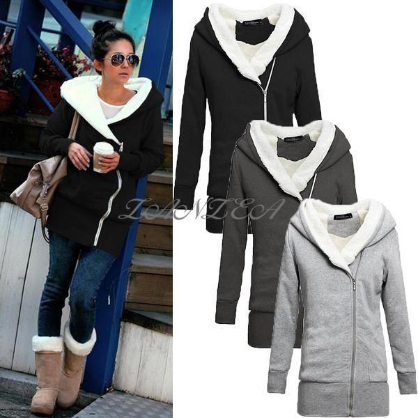 Womens Hooded Hoodies Winter Warm Coat Long Sleeve Zipper Up Jumper Sport Jacket