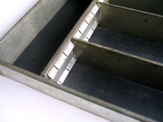 Vintage Industrial Metal Flatware Holder Metal by flabbyrabbit