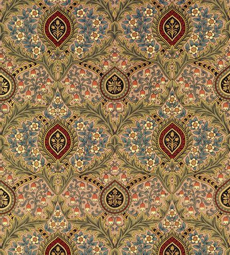 William Morris design, Knightsbridge Damask wallpaper in Jasper, Bradbury & Bradbury