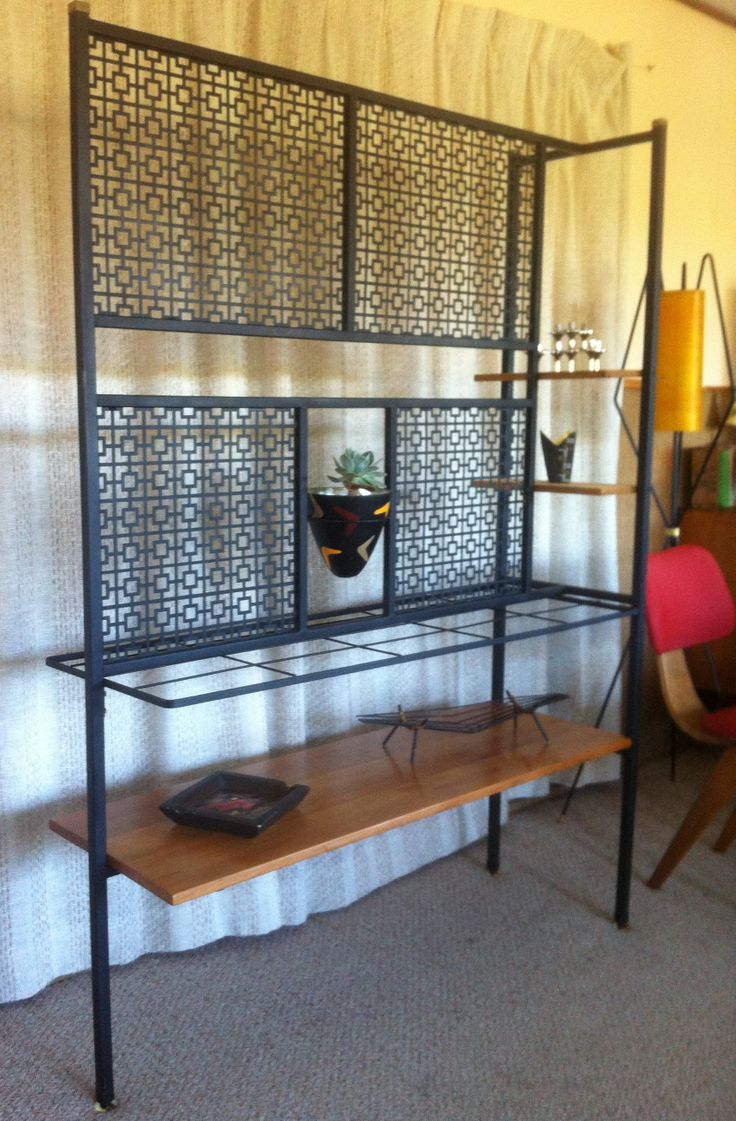 006 mid century australian room divider with perforated metal