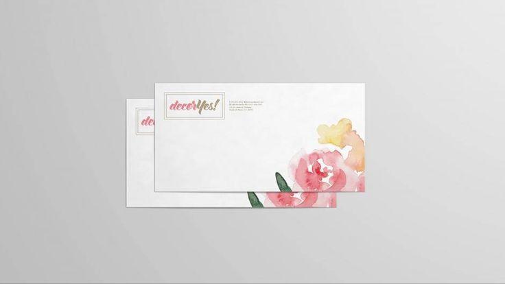 Diseño gráfico de Sobre Membretado imagen corporativa de DecorYes! Marca IMPI 2016 |  Flower Shop