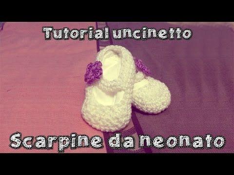 Come fare delle scarpine da neonato all'uncinetto - Parte 3 - YouTube