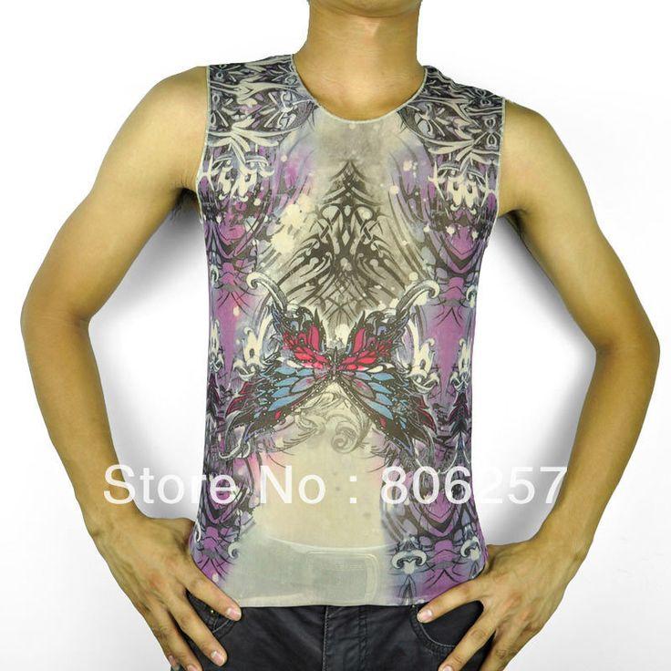 Тату майка без рукавов футболки жилет мода одежда бабочка дизайн татуировки топы - горячая распродажа