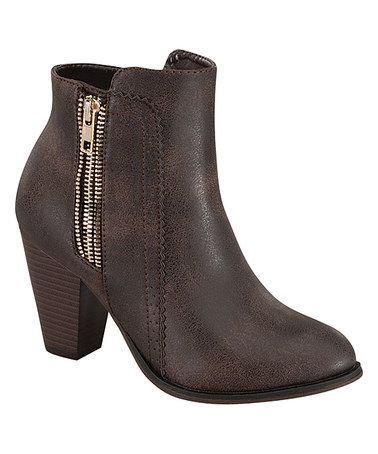 This Brown Camila Side-Zip Bootie is perfect! #zulilyfinds