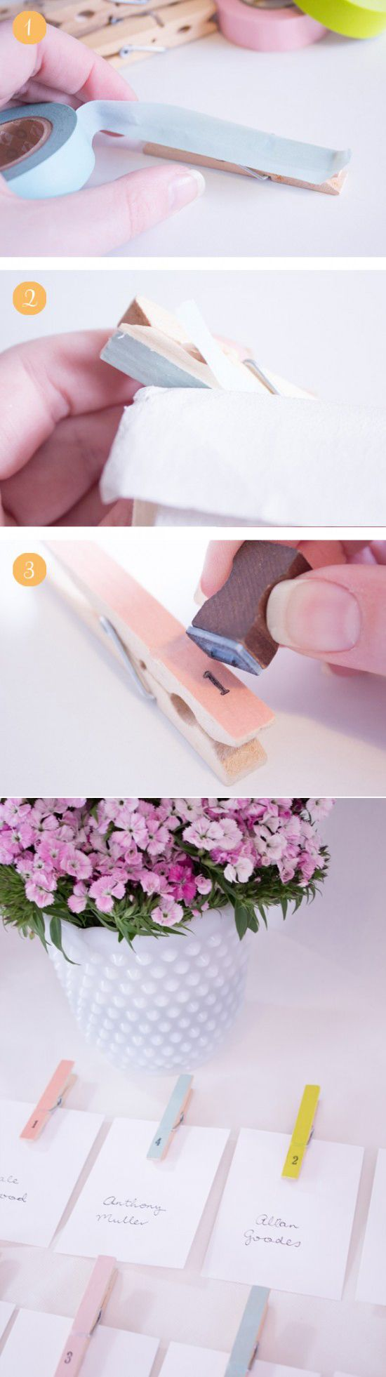 DIY pastel peg escort cards made with washi tape. Easy and looks great!